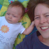 Hanging out outside, grabbing Mommy's hair...