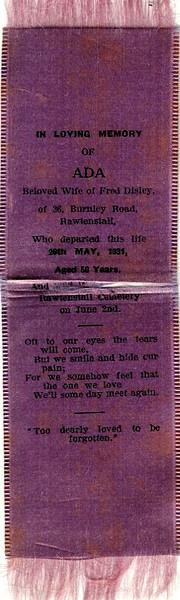 Ada Disley (Ellison) 4 3 1881 Died 29 5 1931