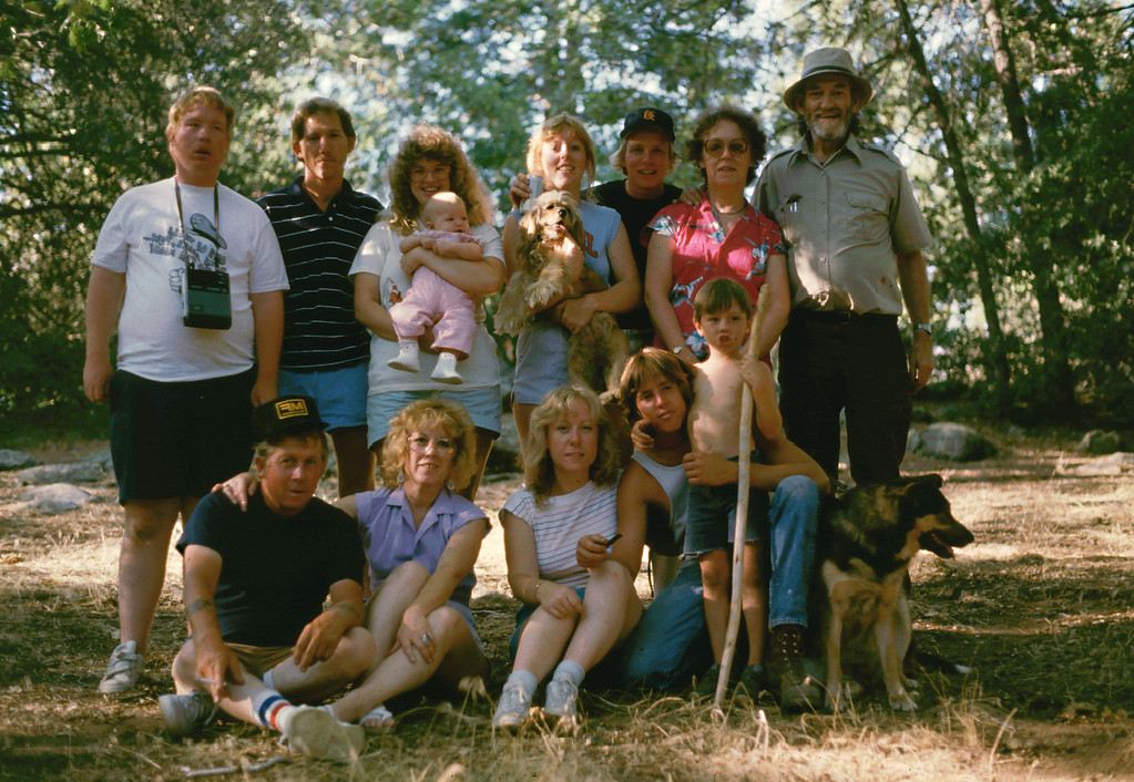 Family Reunion at Paso Picacho, Cuyamaca Rancho State Park in 1985. Top Row: Roger, Bobby, Cheryl with baby Jennifer, Lisa with her baby Tara, Ron, Eleanor, Elwood. Bottom Row: Whitey, Marion, Sharon, Steve, Jeremiah, and Rosie the dog