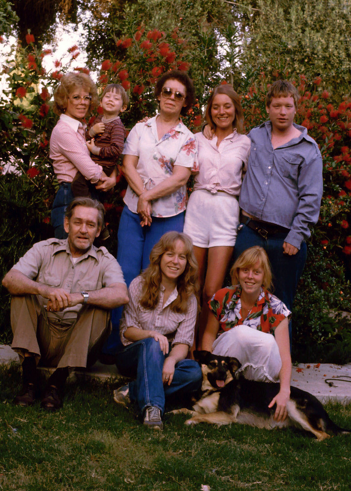 Family Reunion 1985. Top row: Marion, Jeremiah, Eleanor, Carolyn, Roger. Bottom row: Elwood, Sharon, Lisa and Rosie the dog