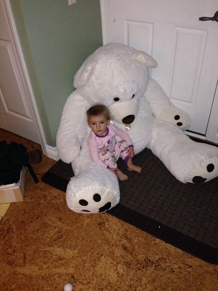 Buddy Bear snuggle time.