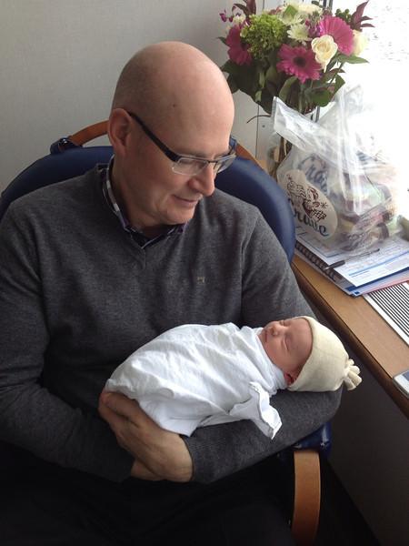 Grandpa Ian says hello to his new Granddaughter.