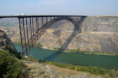 Perrine Bridge, Twin Falls, ID.  486 feet high.  Base Jumpers often parachute from bridge.