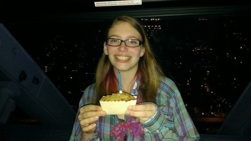 We smuggled a cake onto the Seattle Great Wheel so that Emily could celebrate her 16th birthday in style.