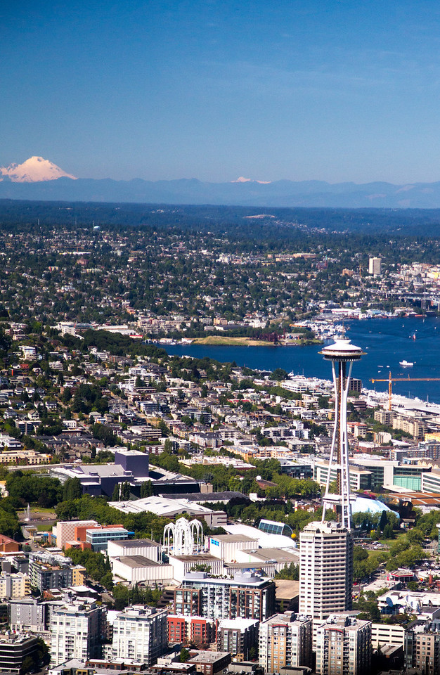 Space Needle and Mount Baker (or Hood or something near Canada).