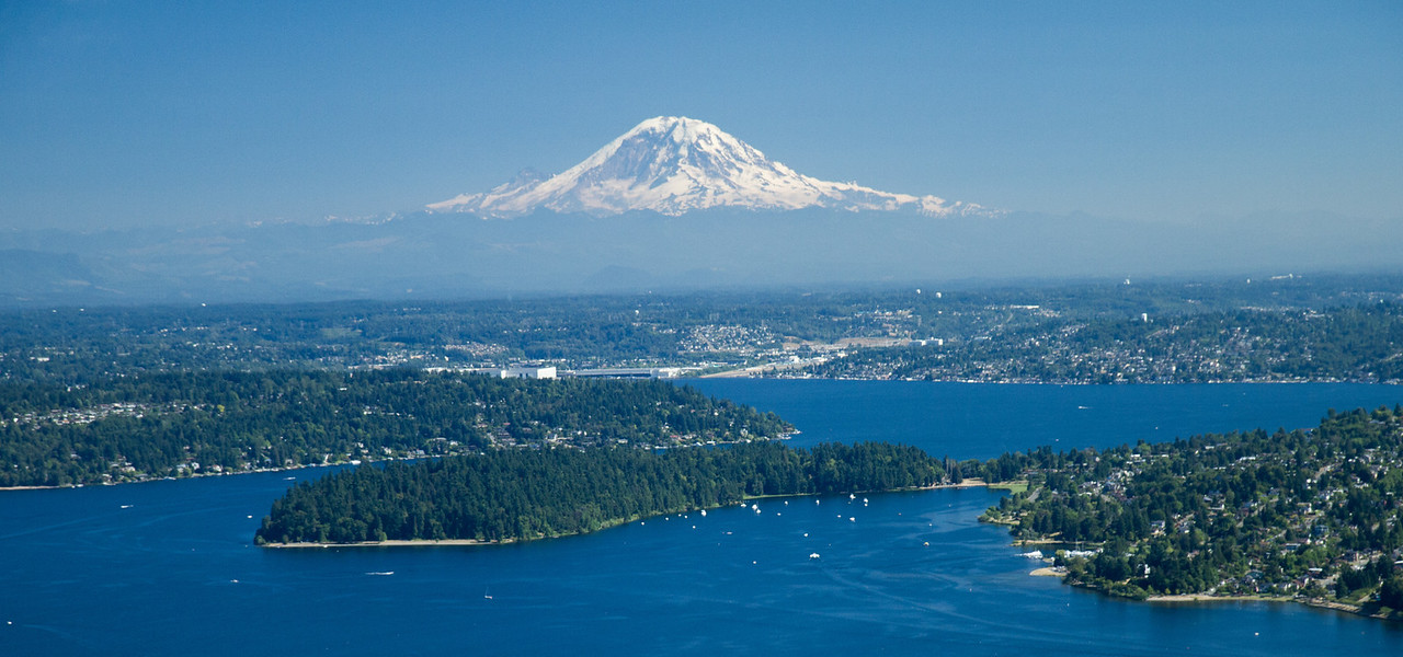 Mount Rainier looks like it's floating above Lake Washington.