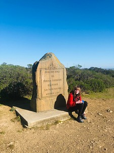 """Portola Expedition marker. San Francisco Bay was first """"discovered"""" in 1769 from this ridge."""