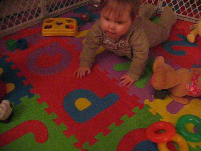 One of the first times Emily crawled!