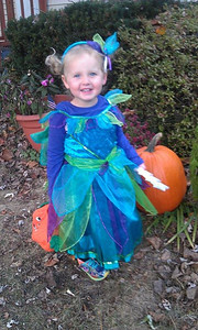 Emily all decked out for a Halloween Party.  October 2013   2 1/2 years old.