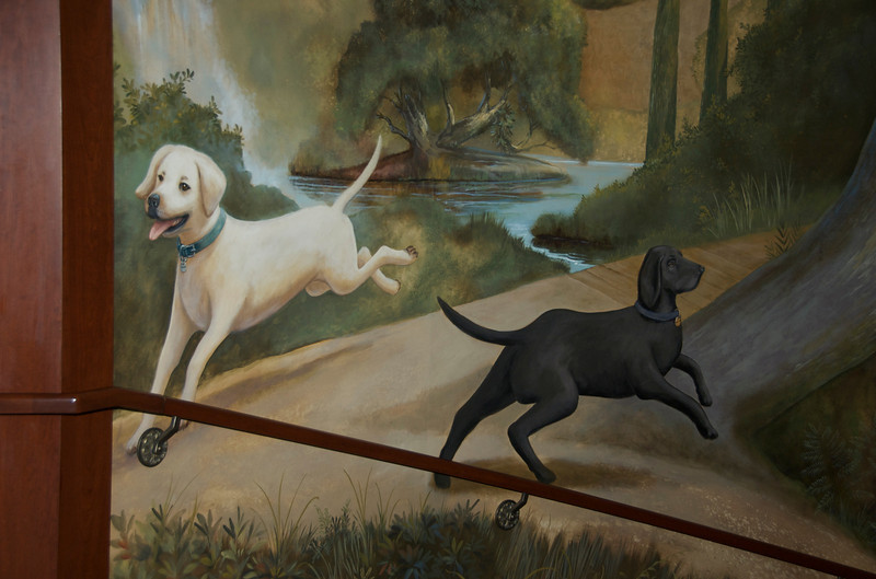 Larger-than-life mural at the Four Seasons.  These reminded us of Jim & Judy's dogs.