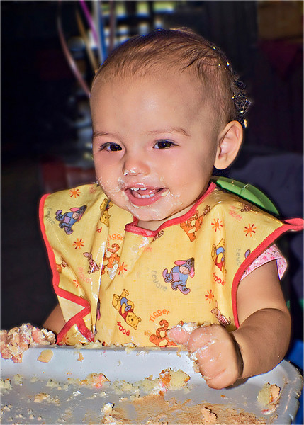 """It's my first birthday smash!"", she said as she smashed her cake in her fist."