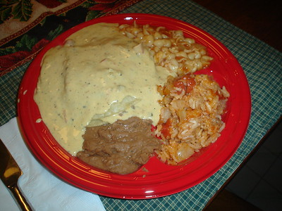 So...Green chili enchiladas, soupa, mexican rice and refried beans, yummy!!!