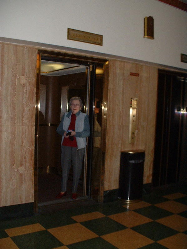 Mom in Florence Hotel, Missoula Montana, where she worked as an elevator operator when they lived there about '43