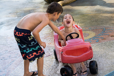Ethan's back. Sammy's either elated or reacting to an older brother tease.