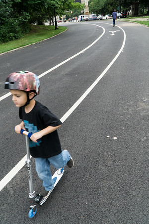 Scooting in Prospect Park.