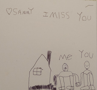 The finished result: a letter from Sammy to Ethan in camp.