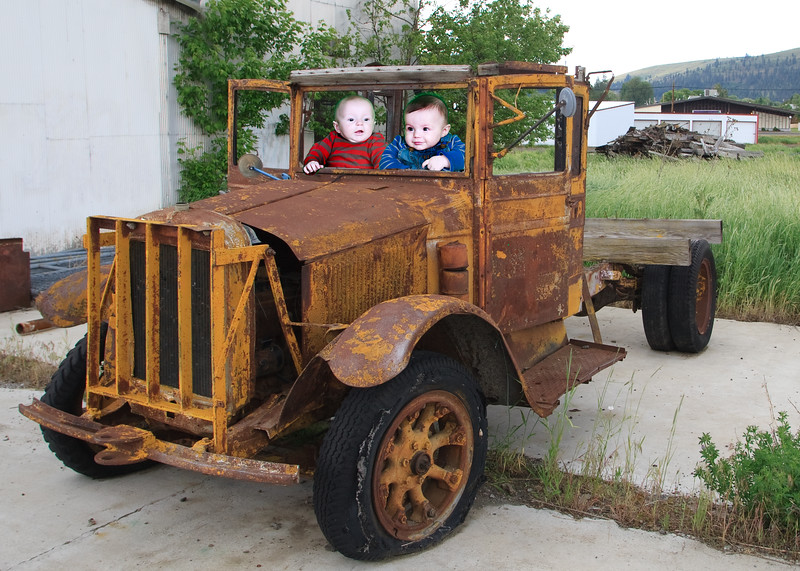 Issac and Ethan go trucking!