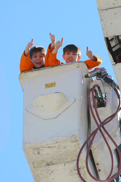 Ethan and Jacob Bucket Truck Ride