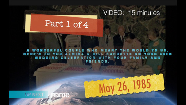 VIDEO:  15 mins.    Wm & Almira's 50th Wedding Anniversary
