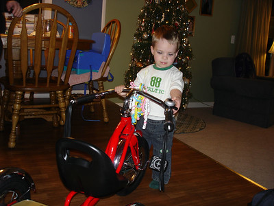 Evan got a cool bike from Grandma and Grandpa!