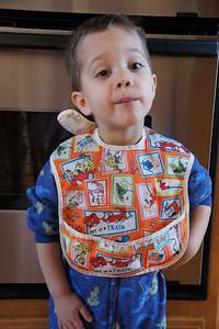 Evan wearing his Bib