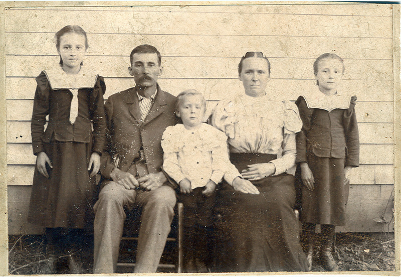 Job and Becky Jane Strong Evans family.<br /> <br /> Fannie,Job,Corbit,Becky Jane,Laurie. Myrtle not yet born.<br /> <br /> Owsley Co. Ky.