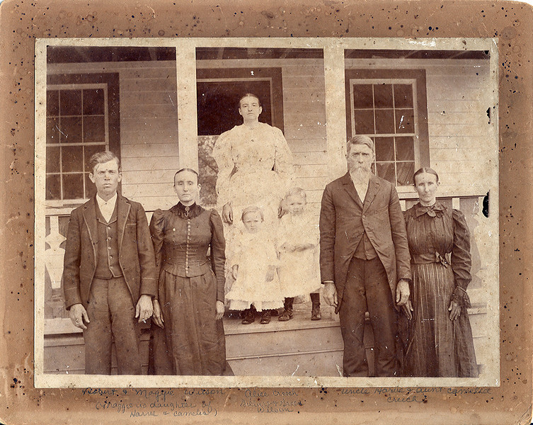 Harve and Camelia Ann Evans Creech Family.Robert and Maggie Creech Wilson,Alice Creech,children-Gilbert and Green Wilson-Harve and Camelia Ann Creech. Alice and Maggie are their daughters.