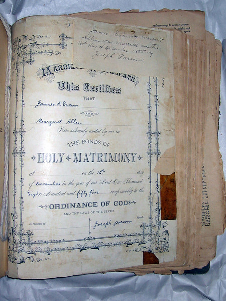 Certificate of marriage for Margaret Allen and James Evans, included in their family Bible