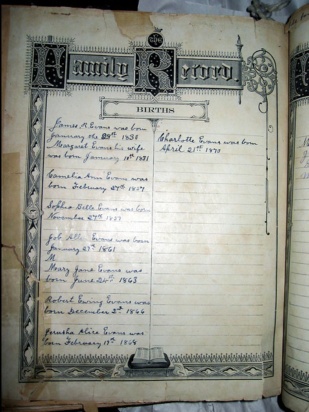 List of births of the children of James and Margaret Allen Evans from the family Bible.