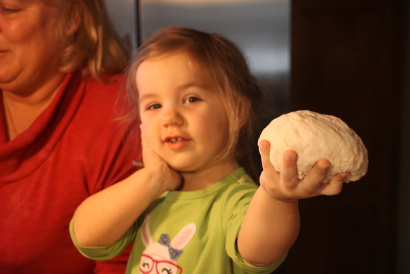 Pizza Making Party, Feb 28, 2015, Dad Bruhn's pizza oven. Brayden and Avery making her first pies!