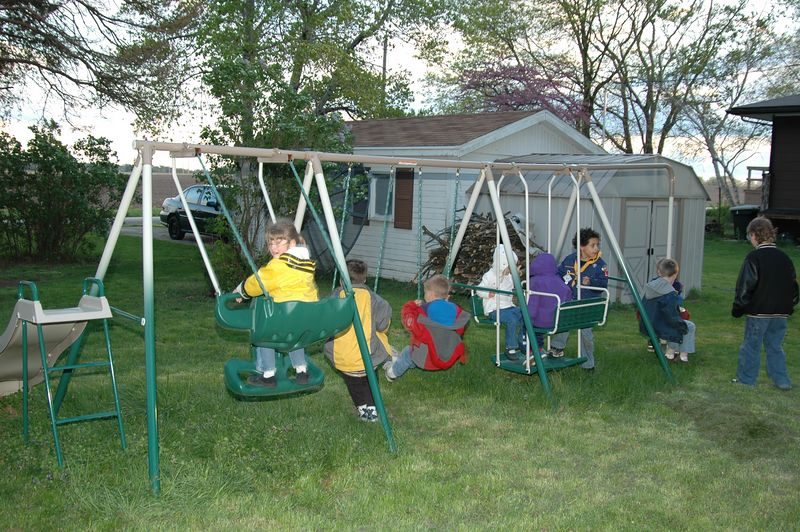 Rush hour at the swing set