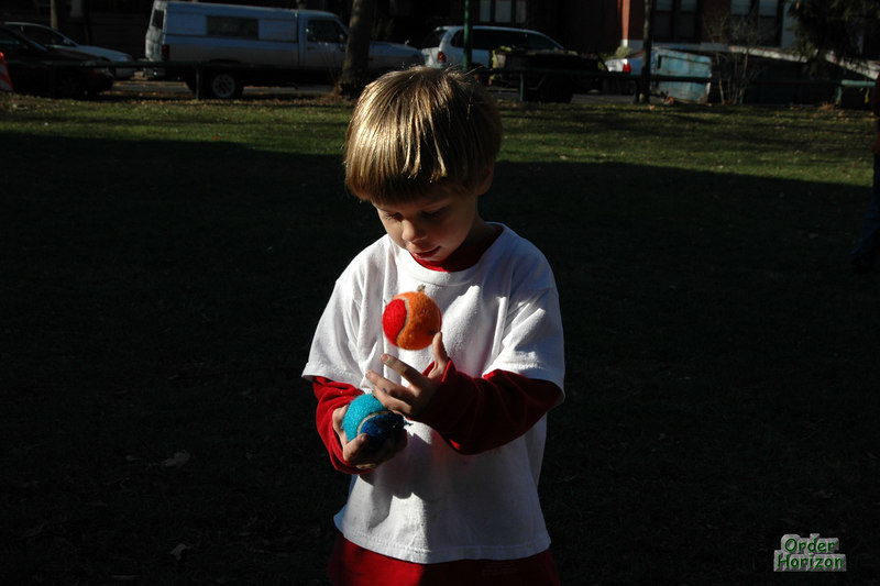 Demonstrating his superior juggling talent