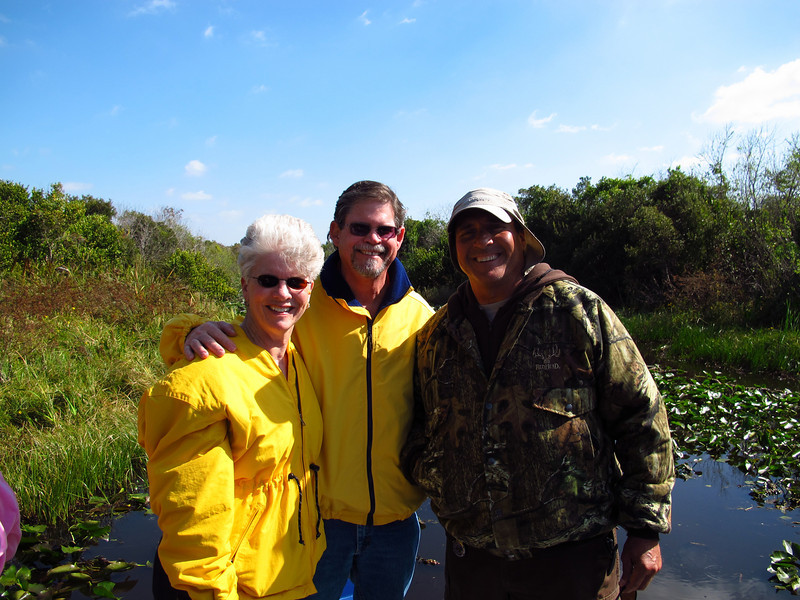 Lynda and Ron with their airboat guide for the afternoon.