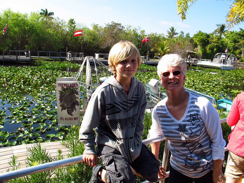 Dorian and Grandma Lynda getting ready for an airboat ride!