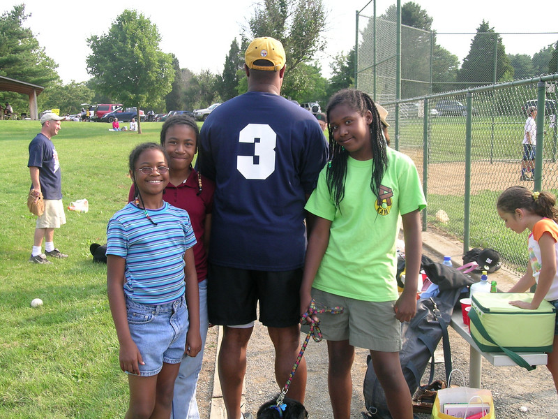 """Ruben was a part of a baseball team, called the Sons of Thunder.  Cool name.  This was actually last summer (2006).  Everyone got to choose his own number.  Ruben chose """"3""""  for his girlies.   Gotta love that"""