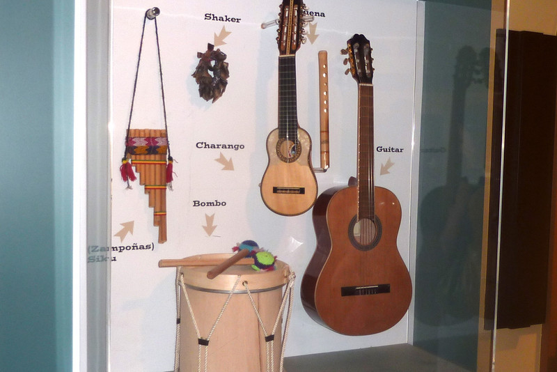 Display of South American instruments.  I recognize some of them as ancient Andean instruments.