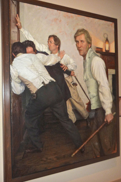 This was Hayden's favorite painting of all of the paintings in the museum.  Downstairs he had viewed the pepperbox pistols that belonged to Joseph and Hyrum Smith, the walking stick that belonged to John Taylor, and the pocket watch that stopped a bullet from entering his chest and killing him. We also saw the death masks of Joseph and Hyrum. Hayden loved this painted depiction of the scene at Carthage Jail.