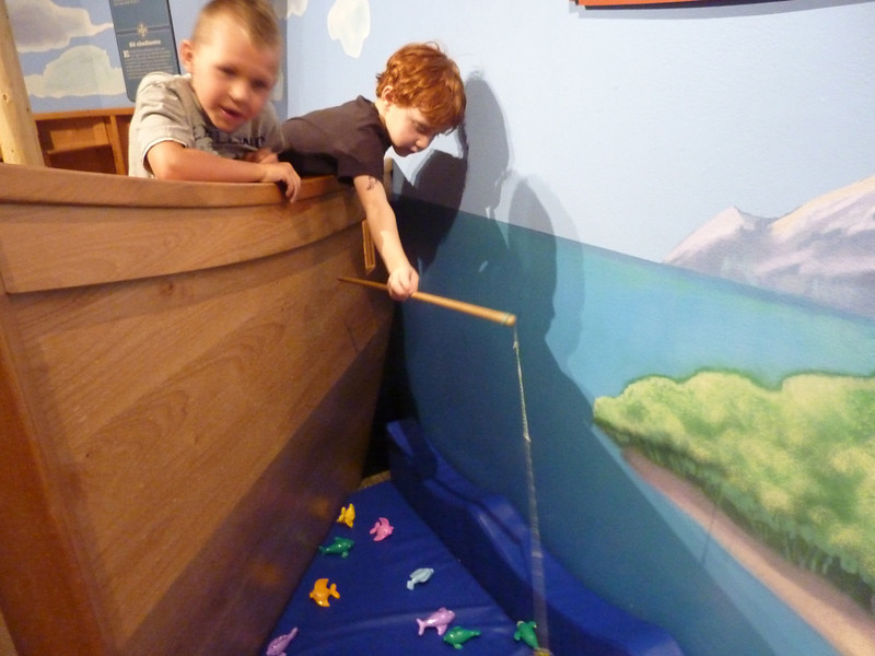 """Fishing"" from ""Nephi's boat"" was quite challenging.  Ben is really concentrating."