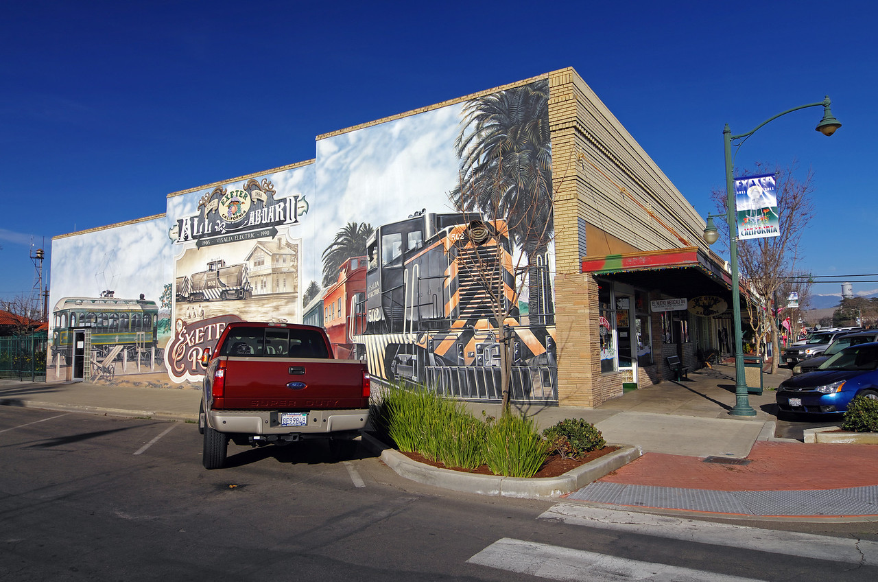 "The ""Tracks of Time"" Mural on the NE corner of north F Street and east Pine Street."