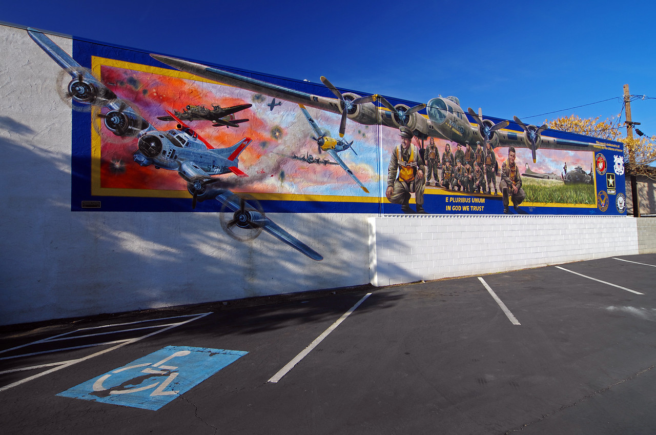 "The ""Freedom Fighters"" Mural on north D Street and just south of east Palm Street."