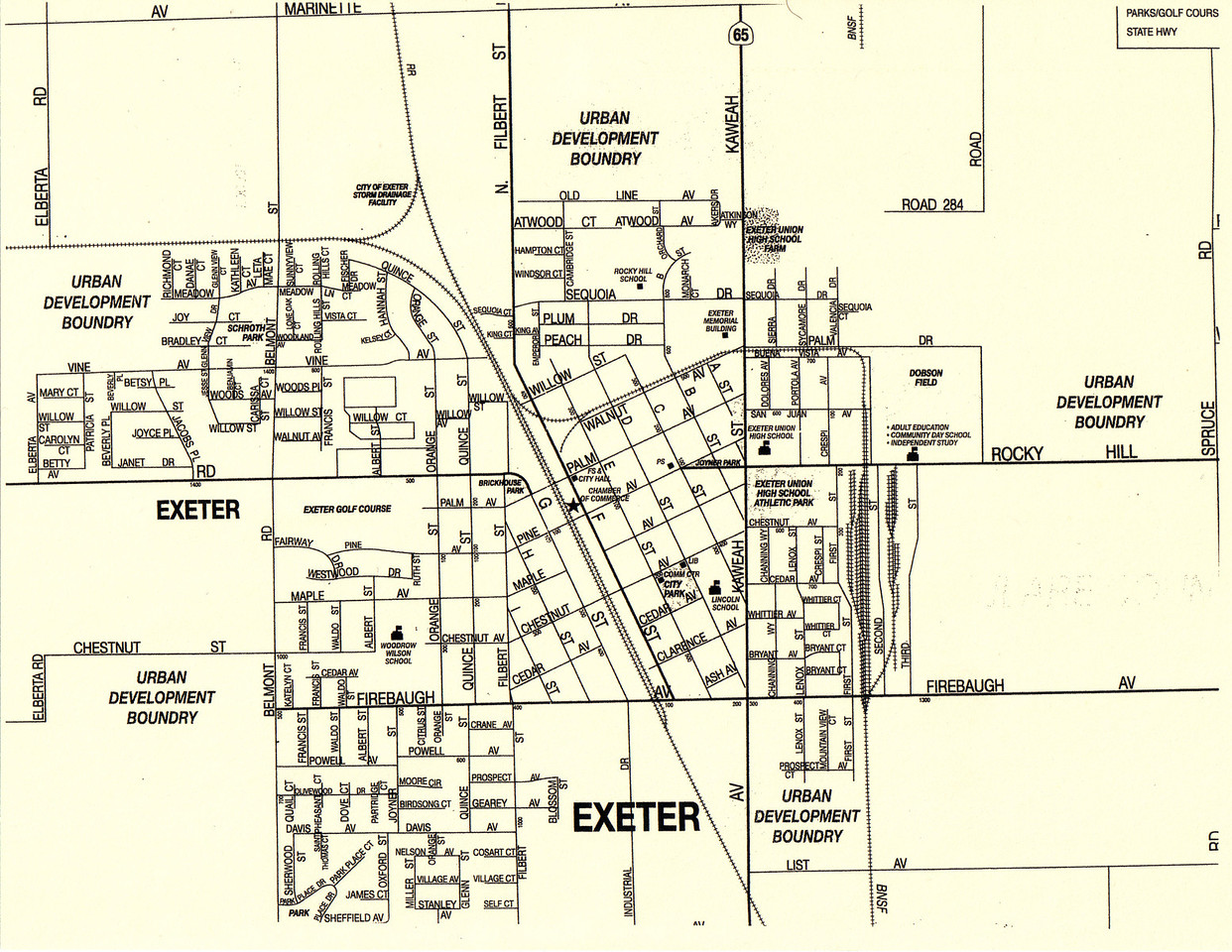 In the Historic Downtown section of the City of Exeter, which is centered around E Street & Pine Street; Pine Street is the North and South boundary for streets A-I that run NW and SE, and F street is the East and West boundary for streets that run NE and SW.  The map is oriented in a Top to Bottom, North to South fashion.