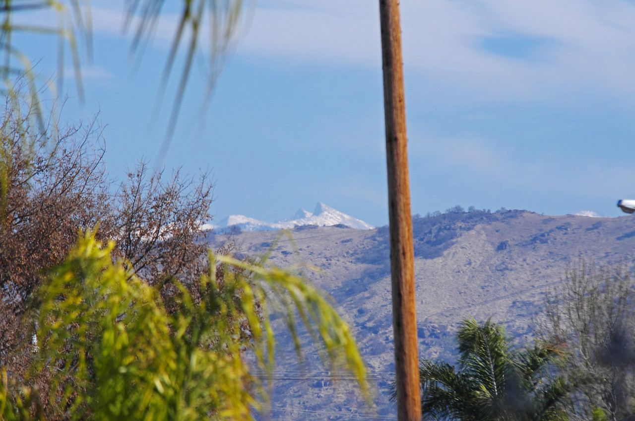 Sawtooth Pk & Needham Mtn as seen from Martha's Mexican Food, Orosi CA.