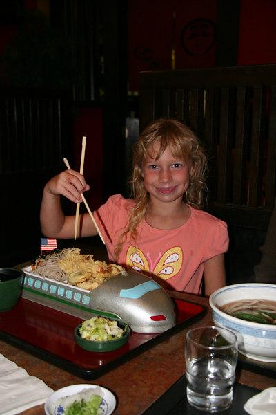 The kids' Shinkansen plate at Mifune in Japantown
