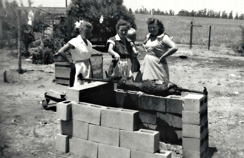 Hattie, Granny and Arlene Cooking a goat in Pedley, CA