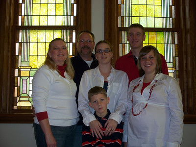 (L to R Back Row)  Jim Miedtke (son), Dan Wedel  (L to R Middle Row) Sheri Miedtke (Jim's wife), Sarah (granddaughter), Jen Wedel (granddaughter)  Front row:  Trevor (great-grandson), Jim's grandson (from son Matthew)