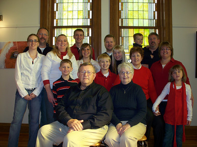 Back Row, L to R:  Jim Miedtke (son), Dan Wedel, Jim Keesling, Luke Miedtke (grandson),  Chuck Miedkte (son) Middle row, L to R:  Sarah Miedtke (granddaughter), Sheri Miedtke, Jen Miedtke (granddaughter), Amelia Keesling (granddaughter), Julie Miedtke Front row, L to R:  Trevor (great-grandson), Adam Keesling (grandson), Ellen Keesling (daughter), Elizabeth Miedtke (granddaughter) Seated  Roger & Charlene