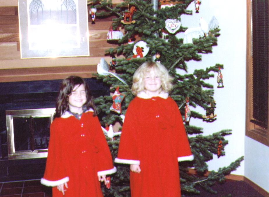 Nichole & Crissy in robes made by Grandma Bonnie, 12-25-83