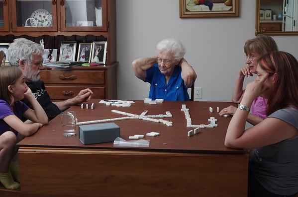 Grandma ponders her move.