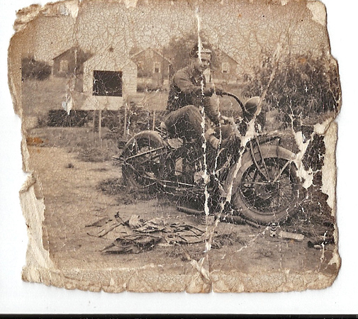 My Dad on his Indian Motorcycle. This picture taken at 28 avenue C in Lodi, NJ in 1948 or 1949.