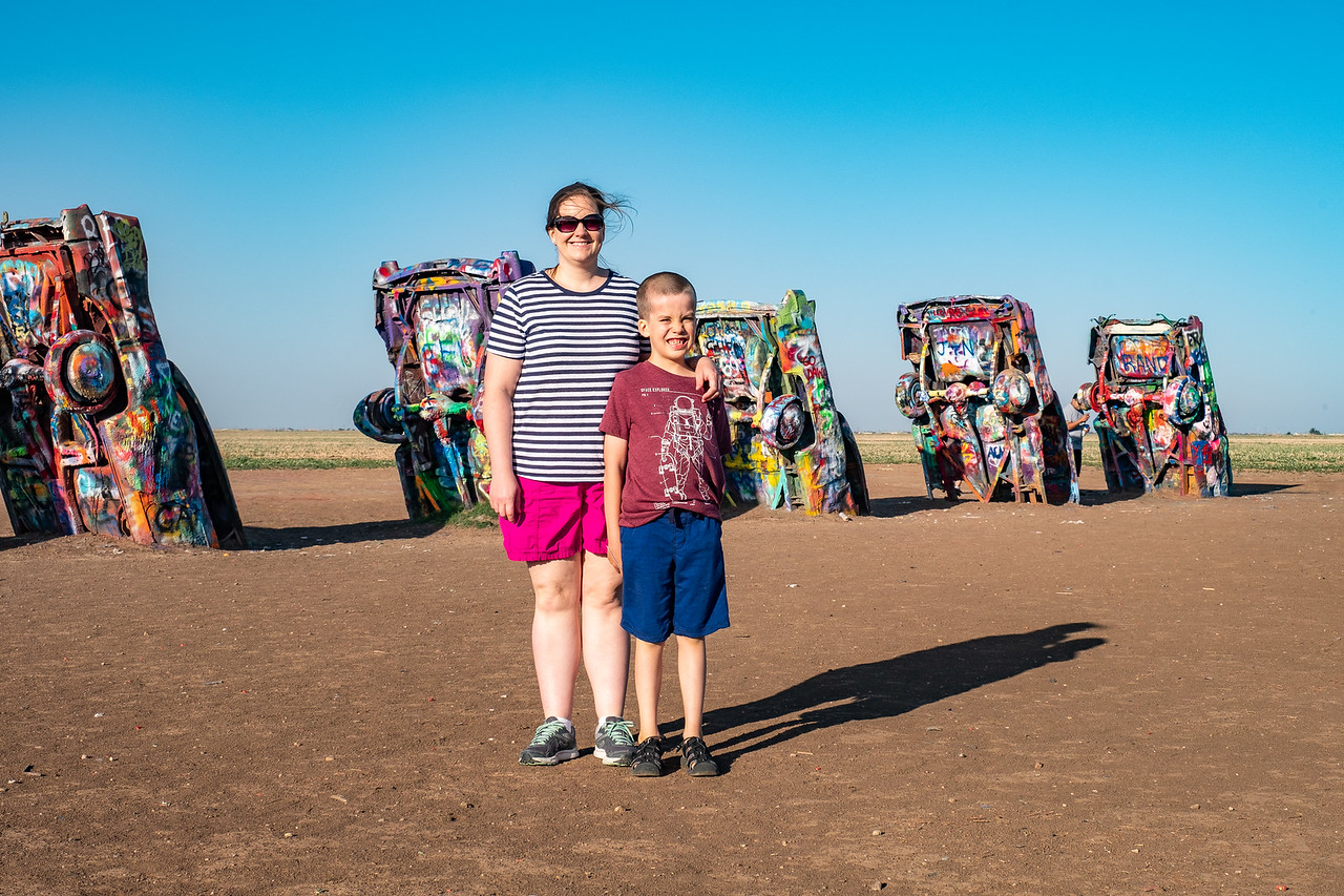 THE TRIP ORIGINATES FROM THE CADILLAC RANCH IN AMARILLO, TEXAS